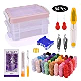 BASEIN Stickgarn, Multifarben Stickgarn Set Embroidery Floss mit DMC Nummern, Stickset mit Organizer Aufbewahrungsbox für Stickerei, Kreuzstich, Nähen