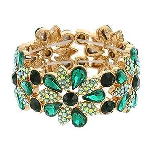 SP Sophia Collection Women's Floral Austrian Crystal Bangle Stretch Rhinestone Bracelet in Green