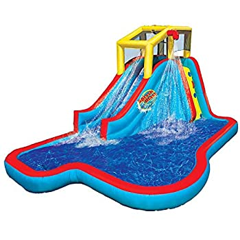 Banzai BAN-35076 Slide N Soak Splash Park Inflatable Outdoor Kids Water Park Play Center with Slides Pool and Air Blower Motor