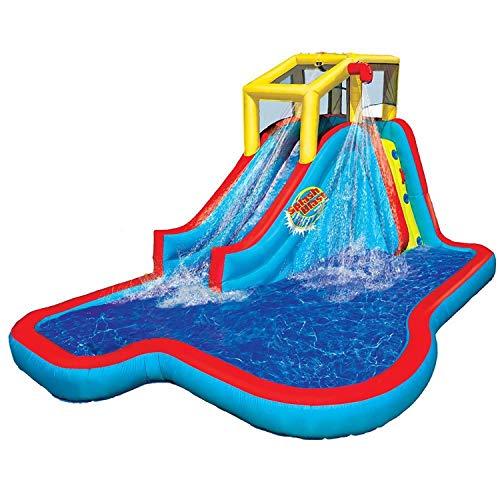 BANZAI BAN-35076 Slide N Soak Splash Park Inflatable Outdoor Kids Water Park Play Center with Slides.