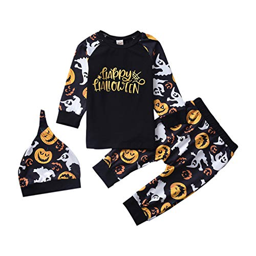 Baby Halloween Outfit, Toddler Ghost Pumpkin Pullover Shirt Pants Funny Clothes for Little Boys (Black, 18-24Months)