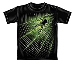 Giant Spider Web Glow in The Dark Youth T-Shirt