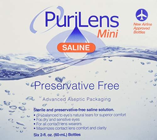 Purilens Mini Preservative Free Saline Six (60-mL) Bottles, Clear, 2...