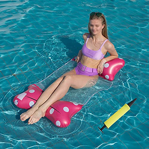 KUMADAI Floating Pool Chair, Pool Raft Inflatable Adults Portable in Water Float Lounges in Water Foldable Mesh with Cooler, for in Pool Lounger Teens Party Set of 2,Pink