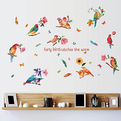 Pintado a mano Acuarela Parrot Combinación Dormitorio Sala de estar Fondo Decorativo Pegatinas de Pared Decoraciones de la Mesita