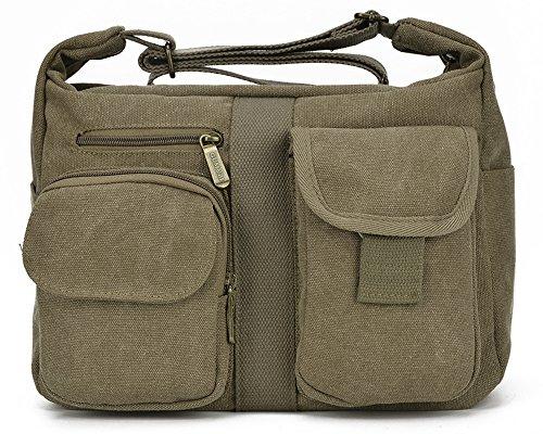 ENKNIGHT Women Shoulder Bags Casual Handbag Travel Canvas Bag Messenger Sling Bag Khaki