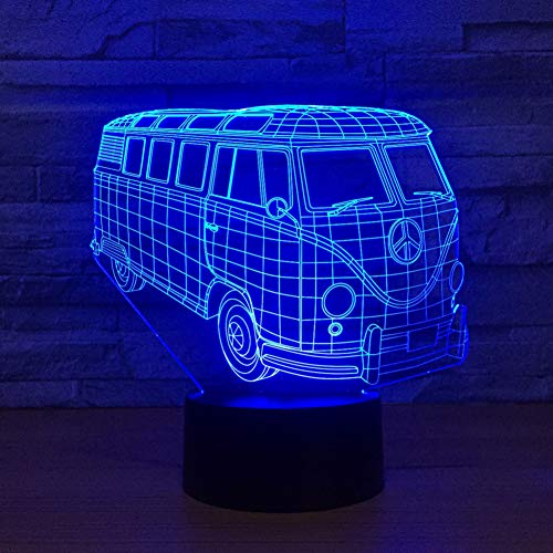 LLZGPZXYD 3D camping LED lamp van de bus bus Transparant acryl licht Het nachtlampje 7-kleurveranderende kamer-tafellamp Touch.