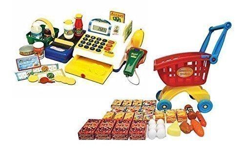 Powco Kinder Registrierkasse Kaufladen mit Einkaufswagen Scanner Kasse Laufband + Zubehör