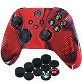 YoRHa Silicona Funda Piel Carcasas Cubierta para Xbox Series X/S Mando x 1 (Rojo Camuflaje) con Agarres para el Pulgar x 10