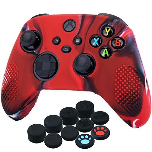YoRHa Silikon Hülle Skin Case für Xbox Series X/S Controller (Tarnrot) x 1 mit Aufsätze Kappen x 10