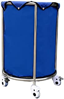 JCY Laundry Basket, Round Laundry Cart with Brake Wheels, Rolling Laundry Hamper Sorter Cart with Removable Bag (Color : Blue)