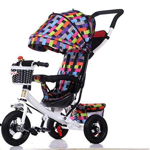 MAGO Sicherheit Double Abkantpresse Kinder Dreirad, 1-3-5 Jährig abnehmbarer Schiebegriff Kinder Pedal Trike Fahrrad-Mode mit Sonnenschirm Kinderwagen (Color : Red)