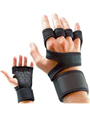 Sports Cross Training Gloves with Wrist Support for Fitness, WOD, Weightlifting, Gym Workout & Powerlifting Silicone Padding, no Calluses Men & Women, Strong Grip, black, McMola