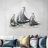 KLMB Sailboat Wall Decor -3D Metal Wall Art Hand-Painted Sailing pennants Hollow Craft Iron Wall Sculpture Mediterranean Style Home Decoration Nautical Design