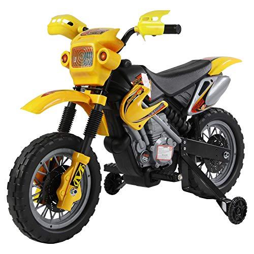 HOMCOM Moto Cross électrique Enfant 3 à 6 Ans 6 V phares klaxon musiques 102 x 53 x 66 cm Jaune et Noir