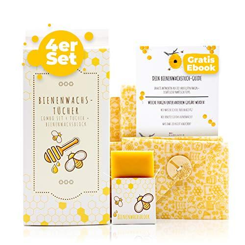 Garlavie Zertifizierte Bienenwachstücher für Lebensmittel 4er Set I Wachstücher als Alternative Frischhaltefolie I Wachspapier (S, 2xM, L) mit extra Bienenwachs I Beeswax wrap wiederverwendbar