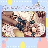GraceLeacock カードゲームプレイマット 遊戯王 プレイマット 東方Project いざよい さくや TCG万能 収納ケース付き アニメ 萌え カード枠なし (60cm * 35cm * 0.3cm)