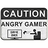 MOTALIN Home Door Mat Precaución Angry Gamer Felpudo Felpudos Alfombras de Entrada Antideslizante 50X80CM para Interior al Aire Libre