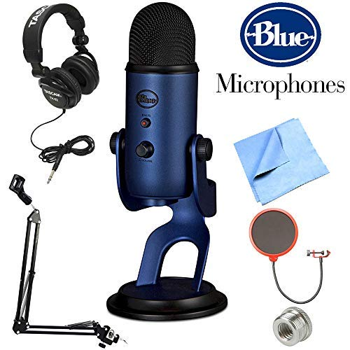 Blue Microphones Yeti USB Microphone Midnight Blue (Yeti Midnight Blue) + Professional Headphones + Suspension Boom Scissor Arm Stand +...