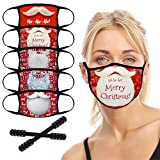 Reusable Face Mask, 5pcs Christmas Washable Face Protective Mask with 2 Adjustable Mask Extender Strap, Unisex Cloth Face Mask Dust Outdoor, Safety 2 Layers Face Cover for Adults, Men & Women