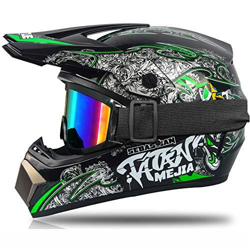 Motocross-Helm, für Kinder, Rot, Schwarz, Integralhelm für Motorrad, Cross, Mountainbike, mit Brille, Handschuhe, geeignet für Scooter (Grün, M)