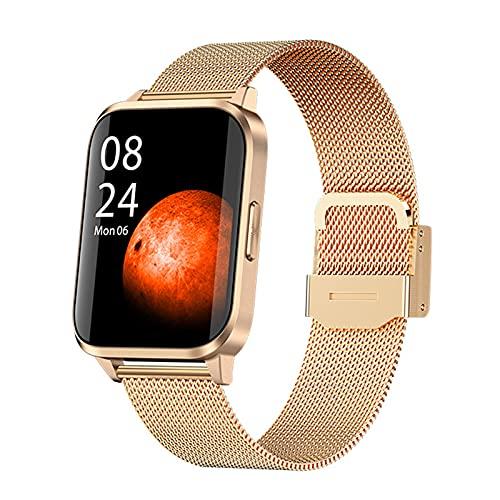 QFSLR Smartwatch Reloj Deportivo con Monitor De Frecuencia Cardíaca Monitoreo De Oxígeno En Sangre Monitoreo De Temperatura De Reloj Inteligente Control De Música,Gold r,largre