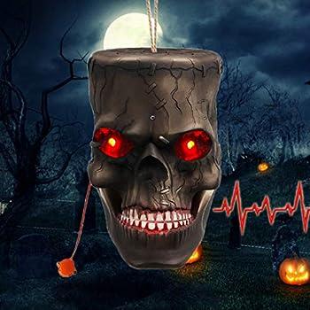 Nulipam Hanging Skull with LED Flashing Eyes & Creepy Sounds