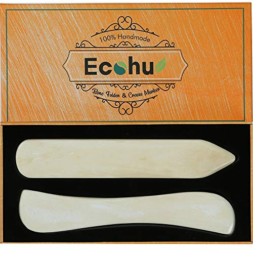 Ecohu Bone Folder & Creaser Tool - 2PCS - Scoring, Folding for Origami, Paper Crafts, Bookbinding, Leather Crafts and Card Making & Folding Paper