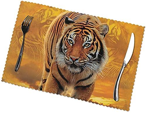 Juego de 6 manteles individuales con estampado de tigre Rising Sun, fácil de limpiar, material de poliéster resistente a altas temperaturas