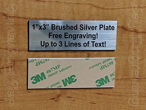 Custom Engraved 1x3 Brushed Silver Plate   Name Tag Sign   Badge With Adhesive   Engraving Trophy Plaque Urn Keepsake Loving Personalized Scrapbook Organize Small Business Home Office Wall Door Plaque