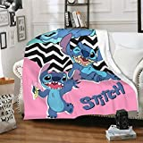 FT FENTENG Flannel Fleece Throw Blanket for Fall Living Room Camping, Ultra Cozy Li-lo & Sti-tch Baby Anime Halloween Thin Throw, Cold Summer Night Sweats 60x50 Inch