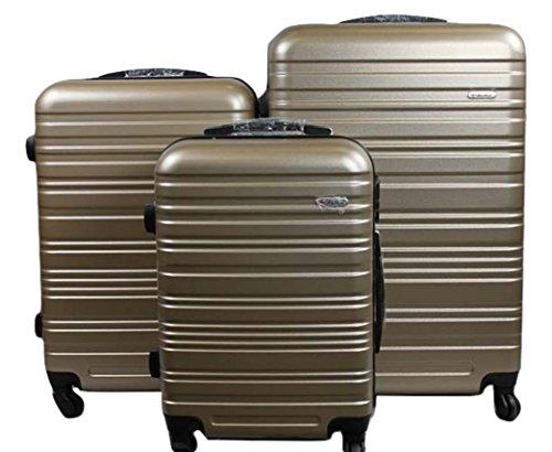 Dublin 3 set da 3 pezzi valige trolly in ABS e policarbonato con 4 ruote girevoli 360° gradi colori vari (Champagne)
