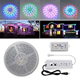 200FT (2X 100FT/Roll) Chasing Effect WS2811 Pixels 24V SMD 5050 Waterproof LED Strip Light Magic Dream Color Addressable with Bluetooth Controller(Waterproof) and Power Supply(Waterproof)