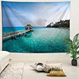 YOYNZY Tapestry Bali Hermoso Paisaje Tapiz Bohemian Beach Sea Tapiz Tapiz Decoración del Dormitorio Colgante De Pared G para Dormitorio Sala De Estar Decoración del Hogar-150X150Cm