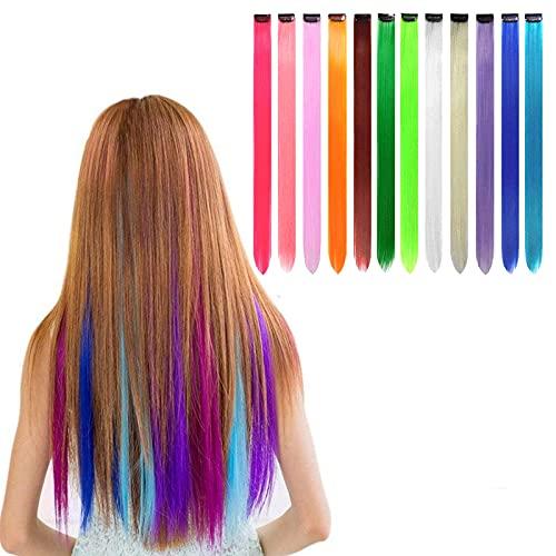 SwirlColor 12 Stück 55cm (21 '') Multi-Farben-Partei-Highlight auf dem Clip in Hair Fashion Beauty Salon Versorgung gerade Perücken für Frauen (12 pcs glatt)