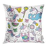 Emvency Decorative Throw Pillow Case Cushion Cover Donut Cute Baby Unicorn in Pastel Rainbow Colors Cloud Magic Pizza Pony Crown 18x18 Inch Cases Square Pillowcases Covers for Sofa Two Sides Print