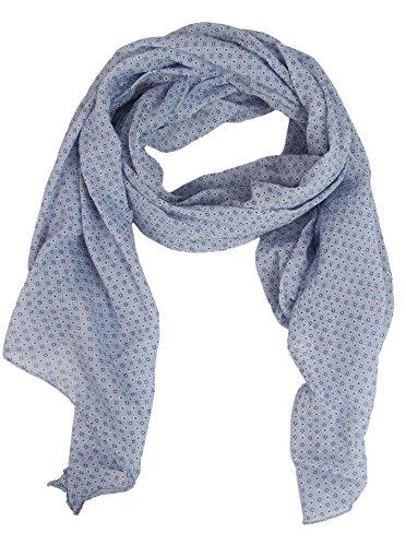Zwillingsherz Seiden-Tuch Damen dezentes Muster - Made in Italy - Eleganter Sommer-Schal für Frauen - Hochwertiges Seidentuch/Seidenschal - Halstuch und Chiffon-Stola stilvolles Muster hellblau