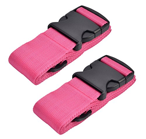 WeBravery Adjustable Luggage Strap Suitcase Belt Bag Straps Travel Accessories (Pink, 2Pack)