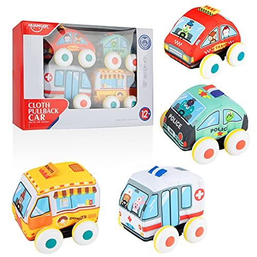 Sirecal Coche de Juguete Friccion Suave 4 Piezas de Vehículos de Juguete para Niños (Ambulancia, Camioneta de Donuts, Coche de Policía, Taxi) Regalos Educativos para Bebé
