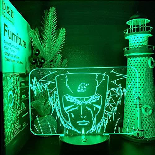 Lámpara de mesa de noche con ilusión 3DAnime Naruto Senju7Colores Cambio automático Interruptor táctil Decoración de escritorio Regalo de cumpleaños-7 color touch