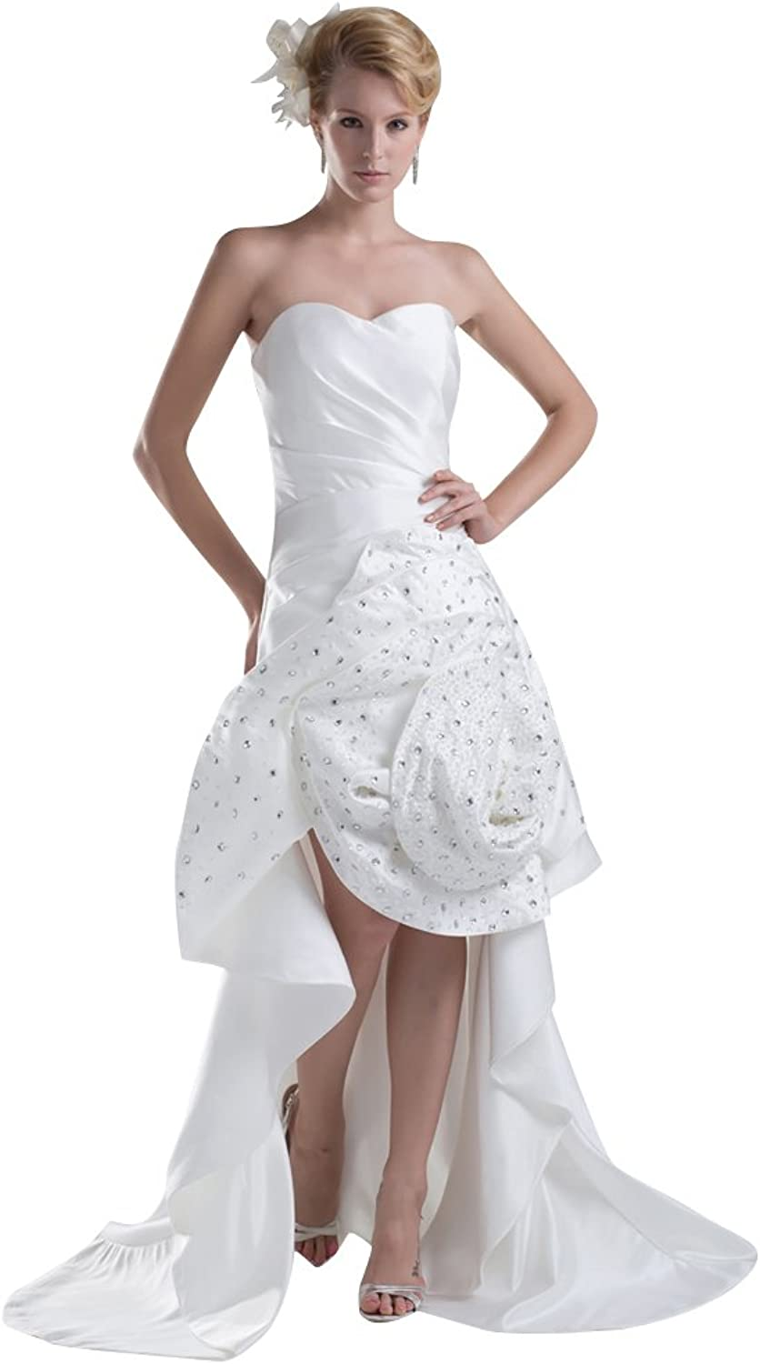 Vampal Ivory Sweetheart Strapless High Low Wedding Dress With pinktte Skirt