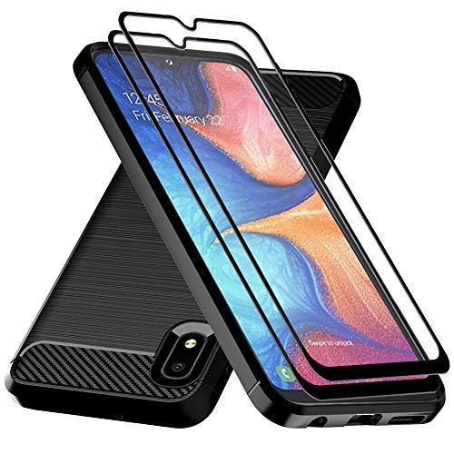 Galaxy A10E Case,Samsung A10E Case with Tempered Glass Screen Protector,Dahkoiz Shock Absorption Galaxy A10E Phone Case Slim TPU Bumper Cover Lightweight Protective Case for Samsung Galaxy A10E,Black