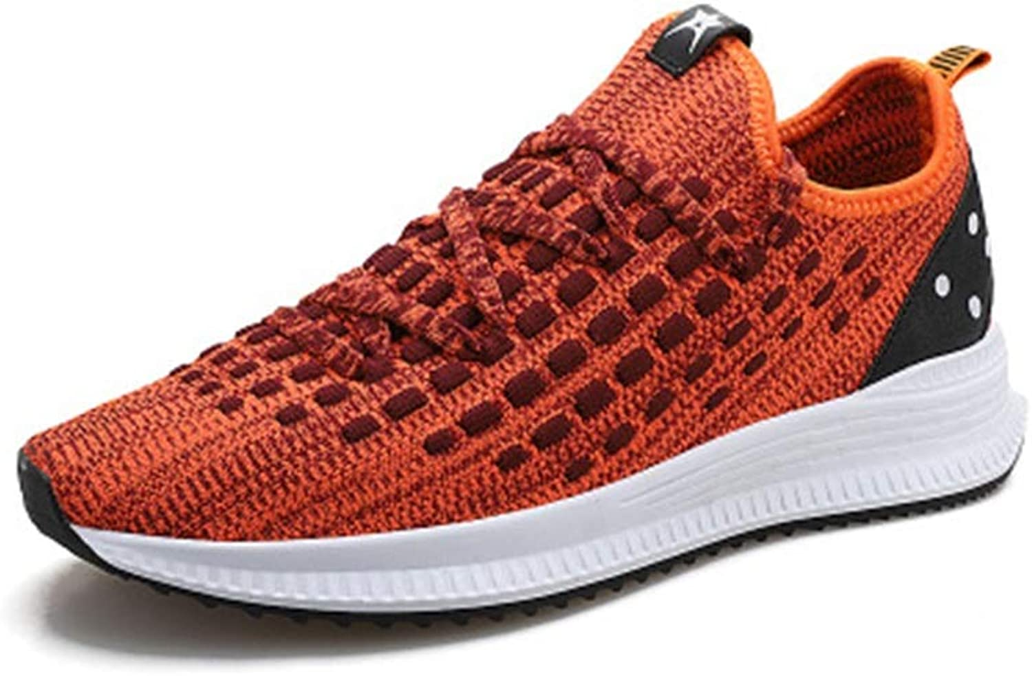 HIAO sandals Knitting shoes Sports shoes Net Breathable Flying Weaving Male Student Jogging Male Running shoes Simple Spring Summer Light Cool (color   orange, Size   8.5 UK)