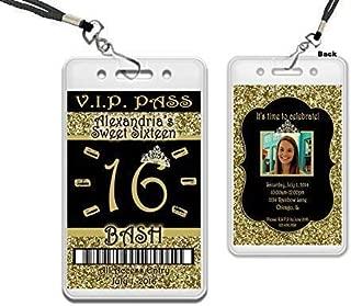 Black Gold Glitter Sweet 16 VIP Invitations Party Favor Invites