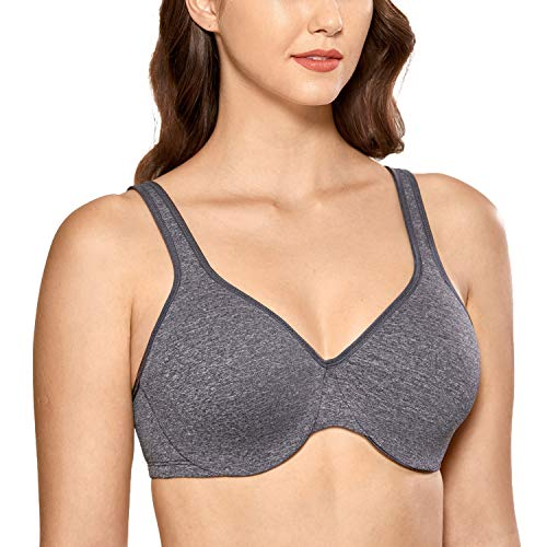 DELIMIRA Women's Smooth Full Coverage Underwire Large Busts Minimizer Bras Black Marl 32H