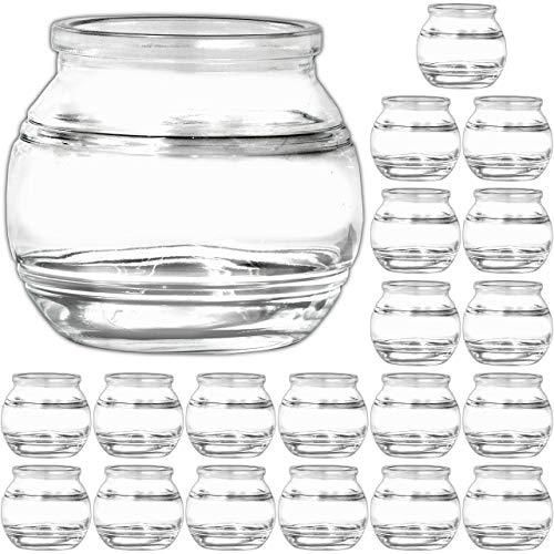 Ami Europe 20 Stück kleine Windlichter 7cm Kerzengläser für Teelichter Teelichtglas
