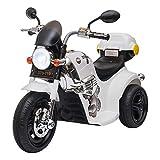HOMCOM Moto électrique pour Enfants Scooter 3 Roues 6 V 3 Km/h Effets Lumineux et sonores Top Case Blanc