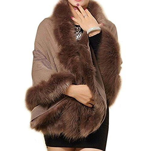 Roniky Women Luxury Bridal Faux Fur Shawl Wraps Cloak Coat Sweater Cape (Khaki)