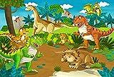 Fotografie Hintergrund Jurassic Dinosaur Green Blätter Vulkanausbruch Geburtstag Baby Shower Photo...