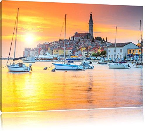 Pixxprint Kroatische Hafenstadt als Leinwandbild | Größe: 60x40 cm | Wandbild | Kunstdruck | fertig bespannt